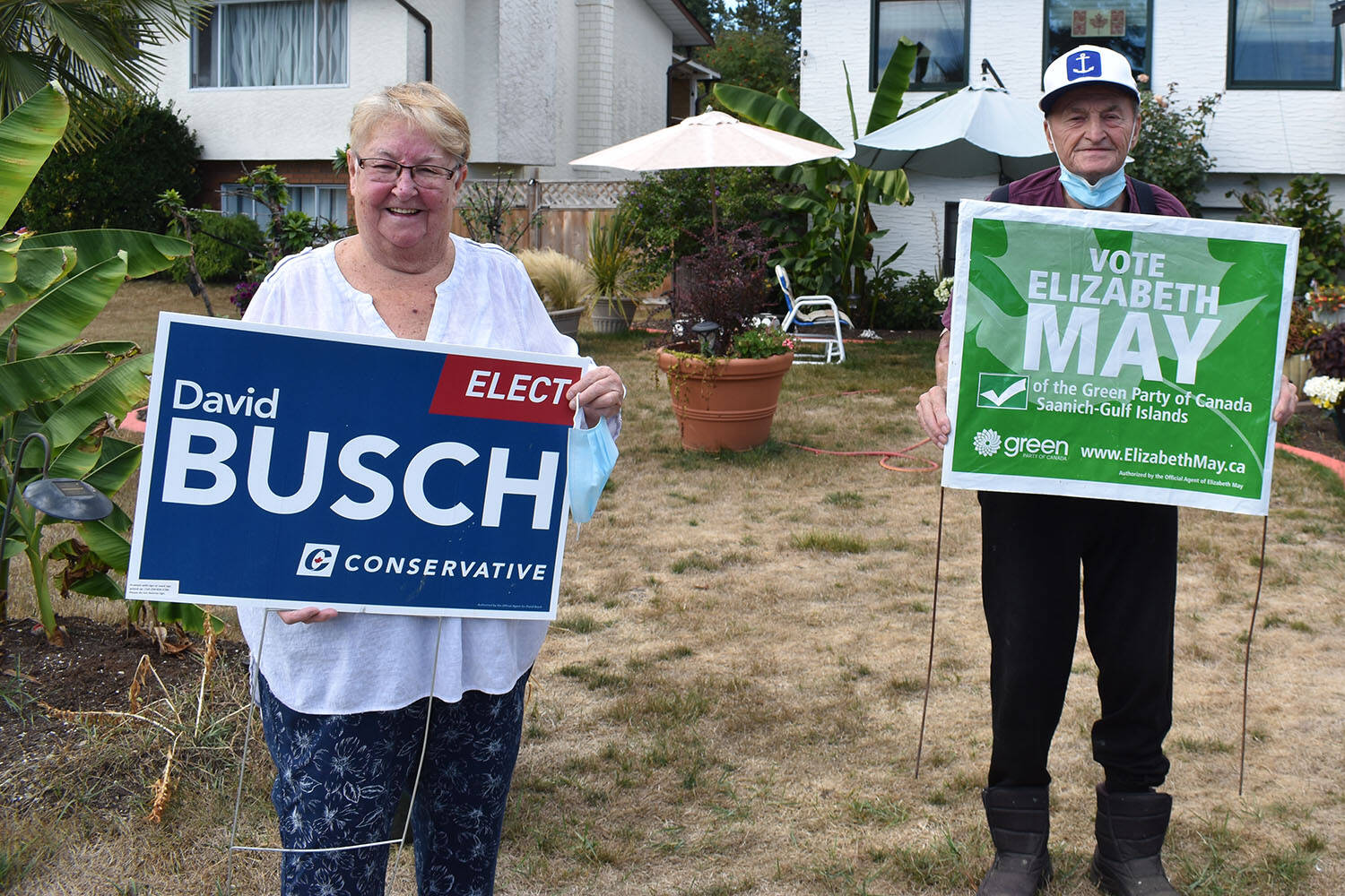 While voting for different candidates in this year's federal election, Hazel and Ed Widenmaier of Central Saanich won't let politics get in the way of their 56 years of marriage. (Wolf Depner/News Staff)